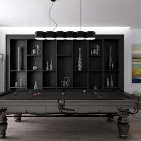 现代休闲区装饰柜台球桌组合3D模型【ID:530434900】