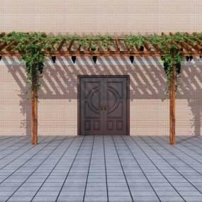 现代室外雨棚3D模型【ID:946426980】