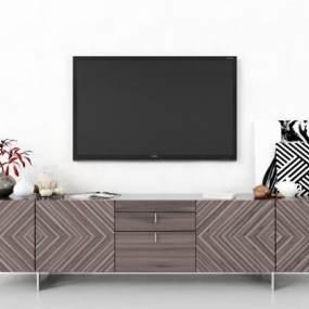 現代電視柜3D模型【ID:951163920】
