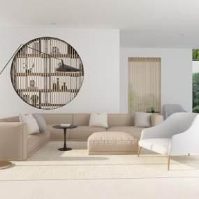 现代沙发组合3D模型【ID:645638793】