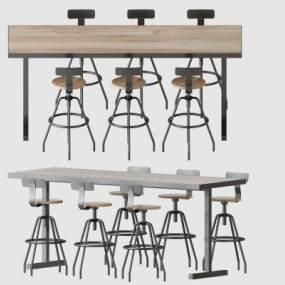 工业风桌椅组合3D模型【ID:835724913】
