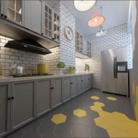 北欧厨房3D模型【ID:543387301】