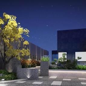 現代花園屋頂露天花園3D模型【ID:150108440】