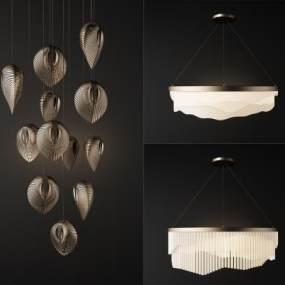 現代金屬吊燈組合3D模型【ID:750473828】
