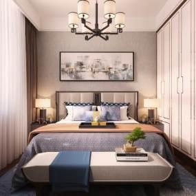新中式卧室3D模型【ID:543405214】