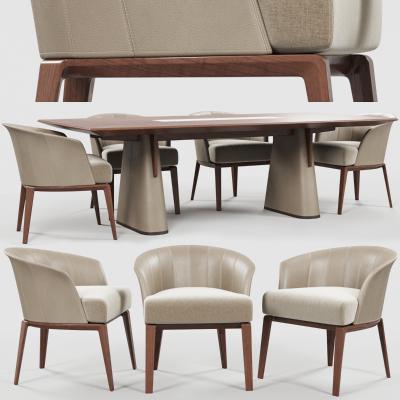 现代实木餐桌椅模型组合国外3D模型【ID:831758800】