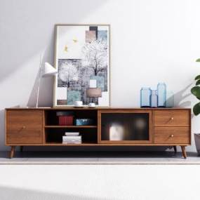 北欧轻奢实木电视柜饰品3D模型【ID:943053984】