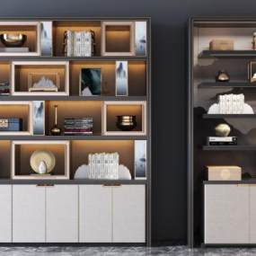 新中式书柜3D模型【ID:153319136】