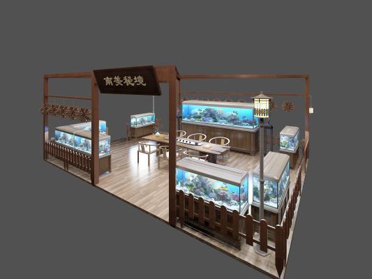 新中式鱼缸水族馆3D模型【ID:843592728】