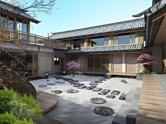日式客栈庭院3D模型【ID:132860475】