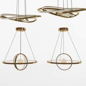 現代輕奢時尚吊燈3D模型【ID:742542849】