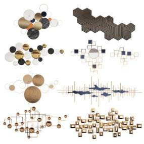 现代金属墙饰挂饰挂件组合3D模型【ID:243542777】