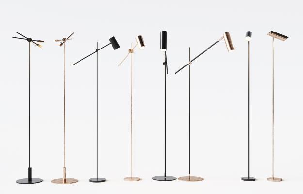 現代金屬落地燈組合3D模型【ID:853012298】