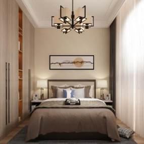 新中式次卧室3D模型【ID:536025433】