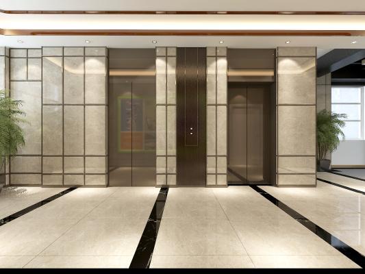 现代楼梯厅3D模型【ID:944122513】