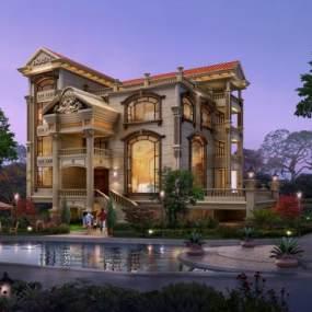欧式别墅建筑3D模型【ID:130676368】