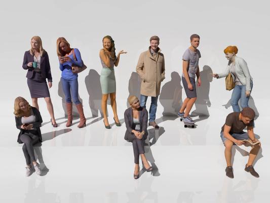 現代男人女人多人組合3D模型【ID:143357498】