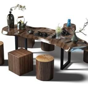 中式茶桌3D模型【ID:832527973】