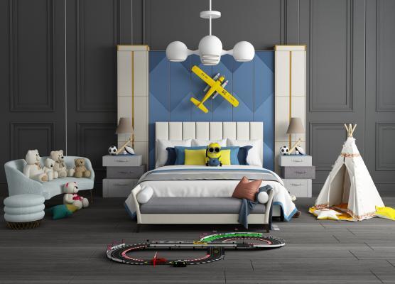 現代兒童床休閑沙發組合3D模型【ID:841501806】