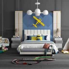 现代儿童床休闲沙发组合 3D模型【ID:841501806】