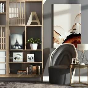 现代装饰柜椅子摆件组合3D模型【ID:732923069】