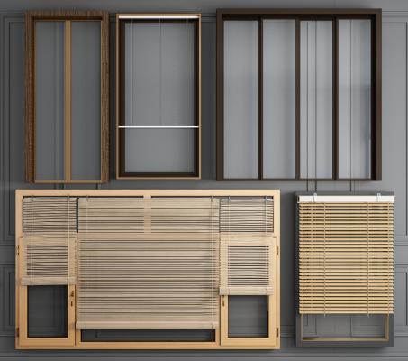 现代铝合金窗户窗纱推拉门组合3D模型【ID:342295269】