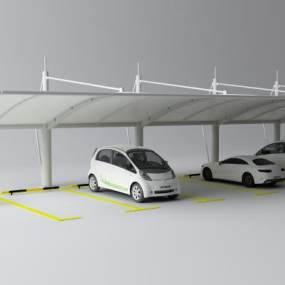现代停车棚3D模型【ID:435625577】