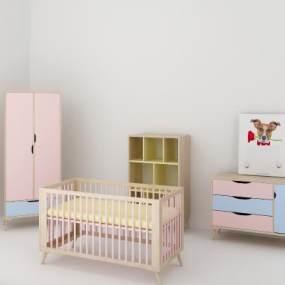 现代婴儿床3D模型【ID:836070842】