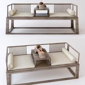 新中式罗汉床沙发组合3D模型【ID:946917099】