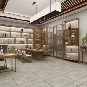 新中式茶室3D模型【ID:642378101】