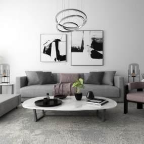 现代沙发茶几装饰画吊灯组合3D模型【ID:633754703】