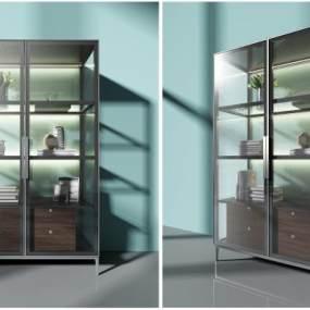 现代玻璃书柜装饰书柜组合3D模型【ID:133073502】