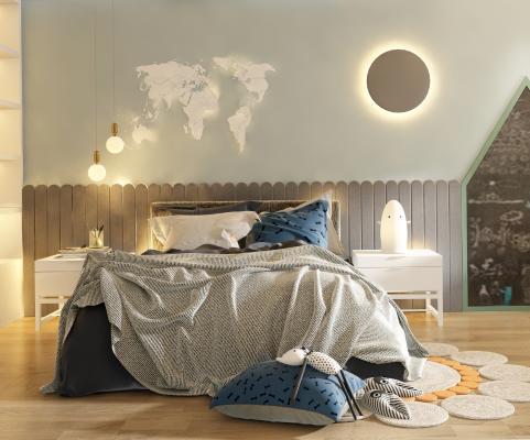 北歐兒童床3D模型【ID:843778855】