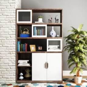 北欧书柜装饰柜书籍摆件组合3D模型【ID:133804064】