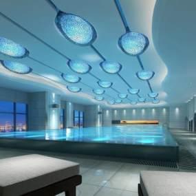現代酒店游泳池3D模型【ID:650223598】