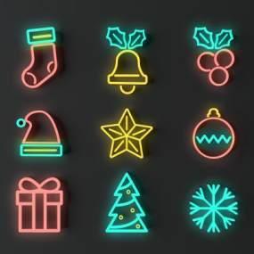 现代圣诞装饰灯组合3D模型【ID:831768597】