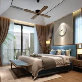新中式卧室3D模型【ID:533565214】