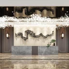 新中式酒店大厅3D模型【ID:743253672】