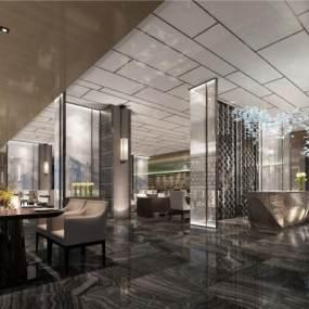 新中式酒店全日制餐厅3D模型【ID:650277694】