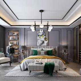 现代卧室3D模型【ID:545674248】
