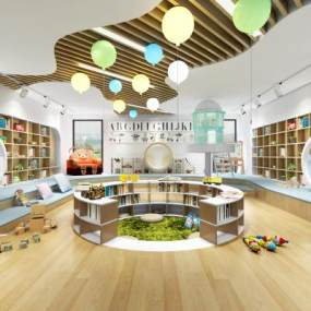 现代幼儿园阅览室3D模型【ID:944205836】