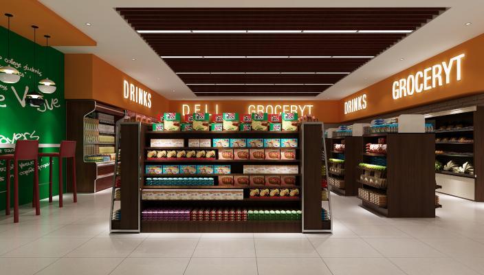 现代超市3D模型【ID:143306171】