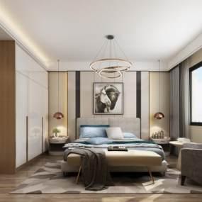 现代北欧卧室3D模型【ID:532170280】