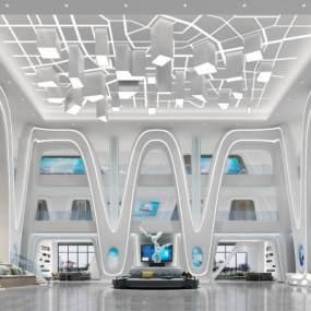 现代科技前台大厅3D模型【ID:950353266】
