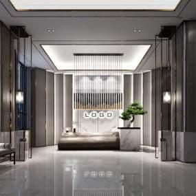 新中式售楼处接待台3D模型【ID:931516640】