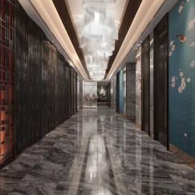 新中式风格酒店过道3D模型【ID:753091449】