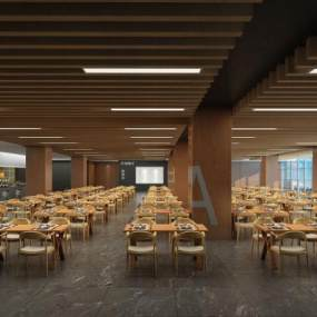 现代企业餐厅3D模型【ID:632497952】
