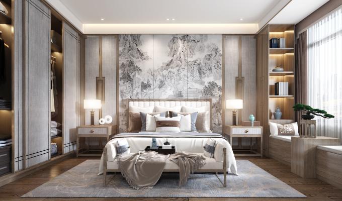 新中式卧室3D模型【ID:543508227】
