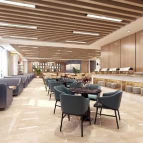 現代酒店餐廳3D模型【ID:643773231】