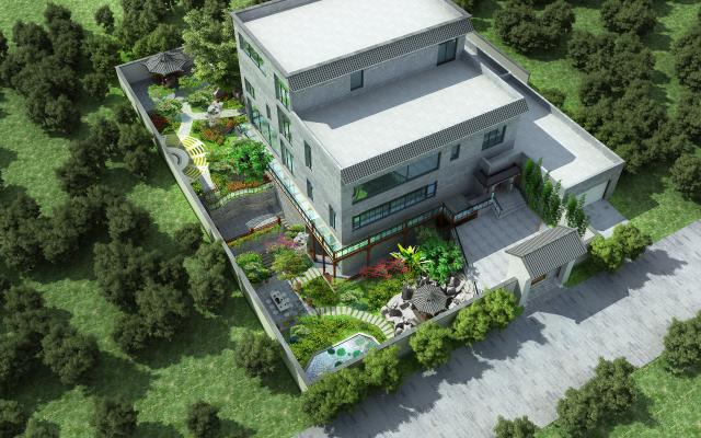 新中式别墅庭院景观3D模型【ID:142133404】